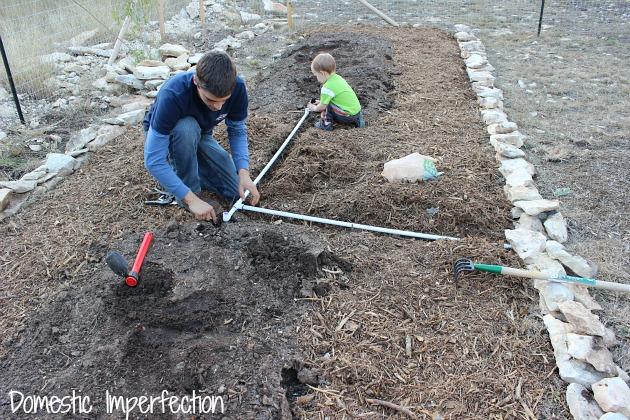 laying irrigation PVC