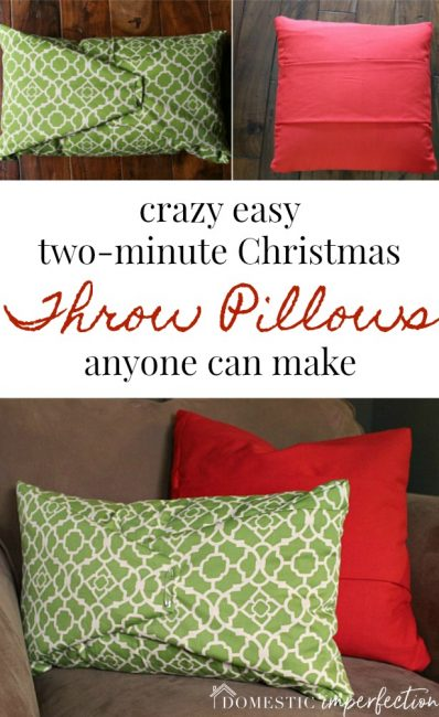 diy no sew christmas throw pillows