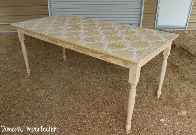 raw stenciled farmhouse table