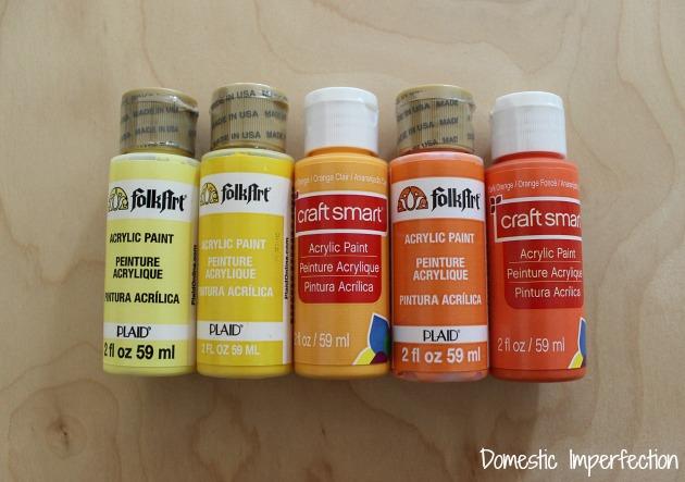 orange and yellow craft paint