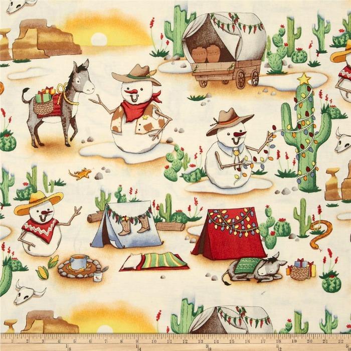 cowboy christmas fabric