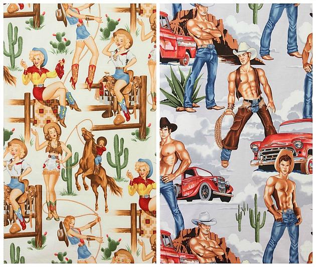 western pin-up fabric