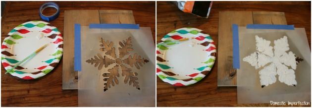 Stenciling snowflakes