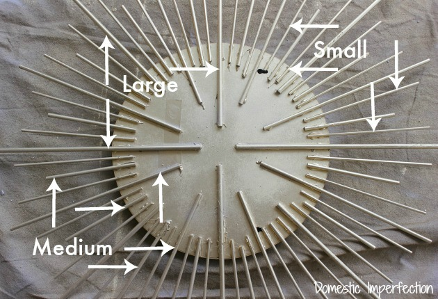 DIY sunburst mirror with dowels