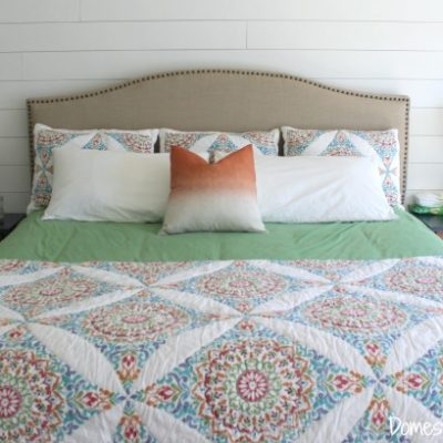 Planked Walls and Upholstered Headboards (master bedroom progress)