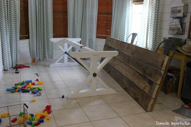 Assembling a rustic table