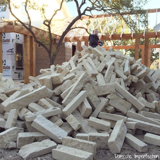 cream limestone pile