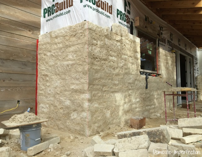german smear mortar on limestone exterior
