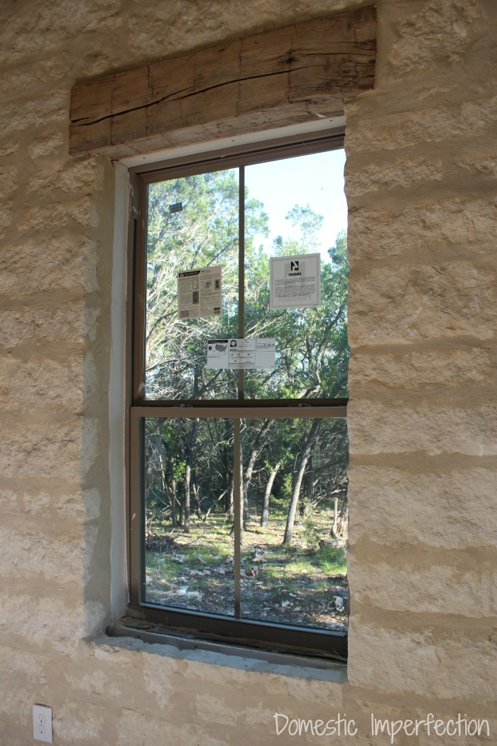 limestone accent wall - progress