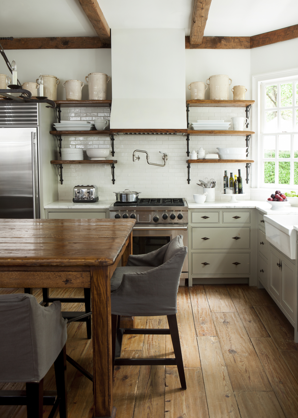 neutral green and white kitchen