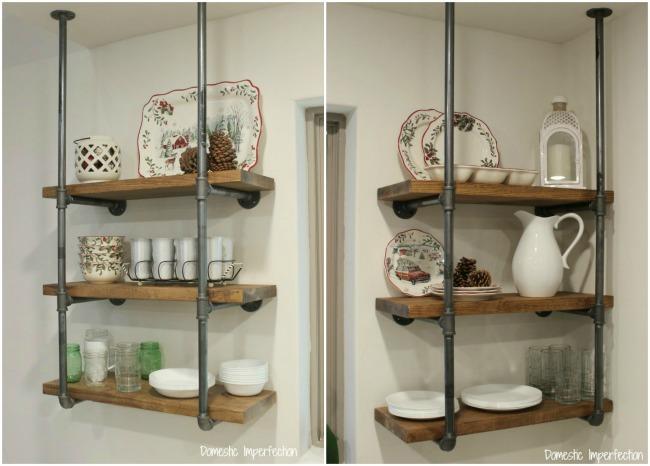 DIY industrial pipe kitchen shelving