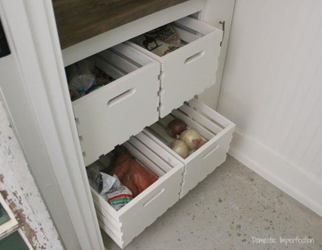drawer storage in pantry