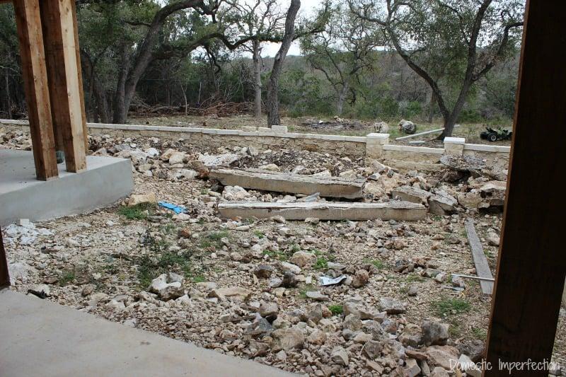 filling backyard with rocks