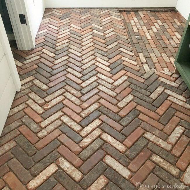 laundry room brick floor progress
