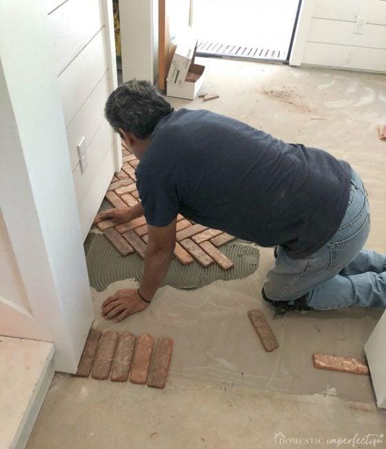 herringbone floor installation