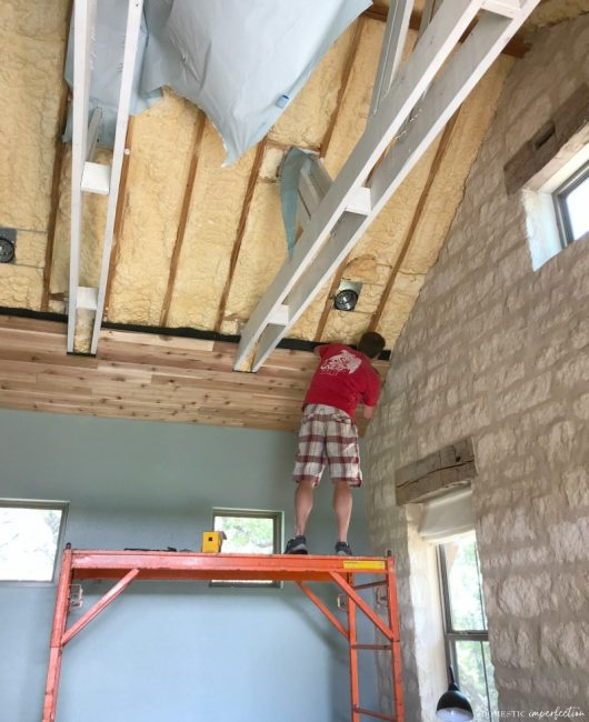 DIY rustic wood cedar plank ceiling