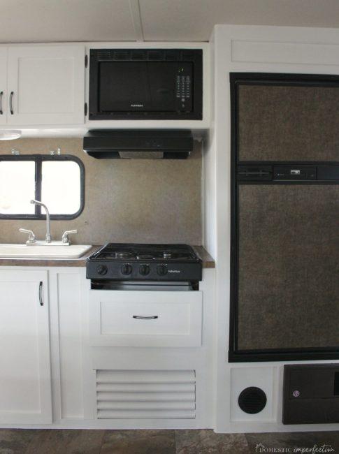 white RV cabinets